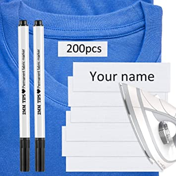 College 200 Pieces Writable Iron On Clothing Labels Day Care and Uniforms Personalized Iron-on Fabric Labels Name Labels to Mark Your Clothes for School Uniform