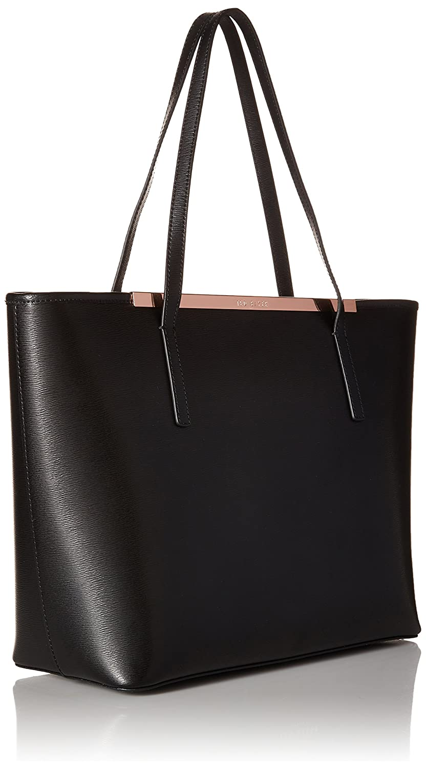 a8c4ddd6f6b Ted Baker Noelle Tote, Large Black Leather Bag with Shadow Floral Clutch  Black N/S: Amazon.co.uk: Shoes & Bags