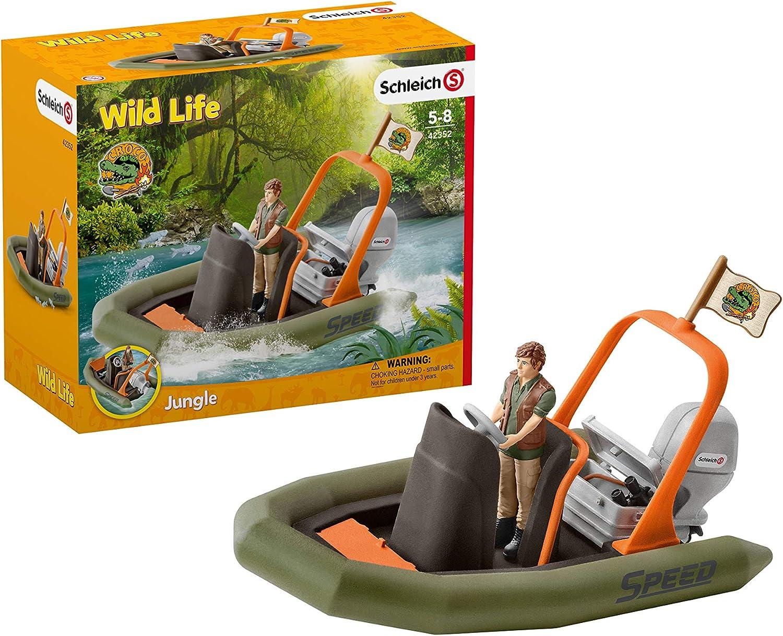 Schleich 42352-Wild Life-bote neumático con Ranger