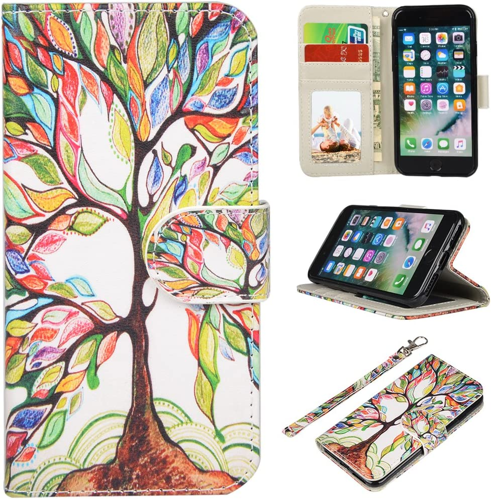 UrSpeedtekLive iPhone 7/iPhone 8/iPhone SE 2020 Wallet Case, Premium PU Leather Flip Case Cover with Card Slots & Kickstand for Apple iPhone 7 (2016) / iPhone 8 (2017) / iPhone SE 2020 -Love Tree