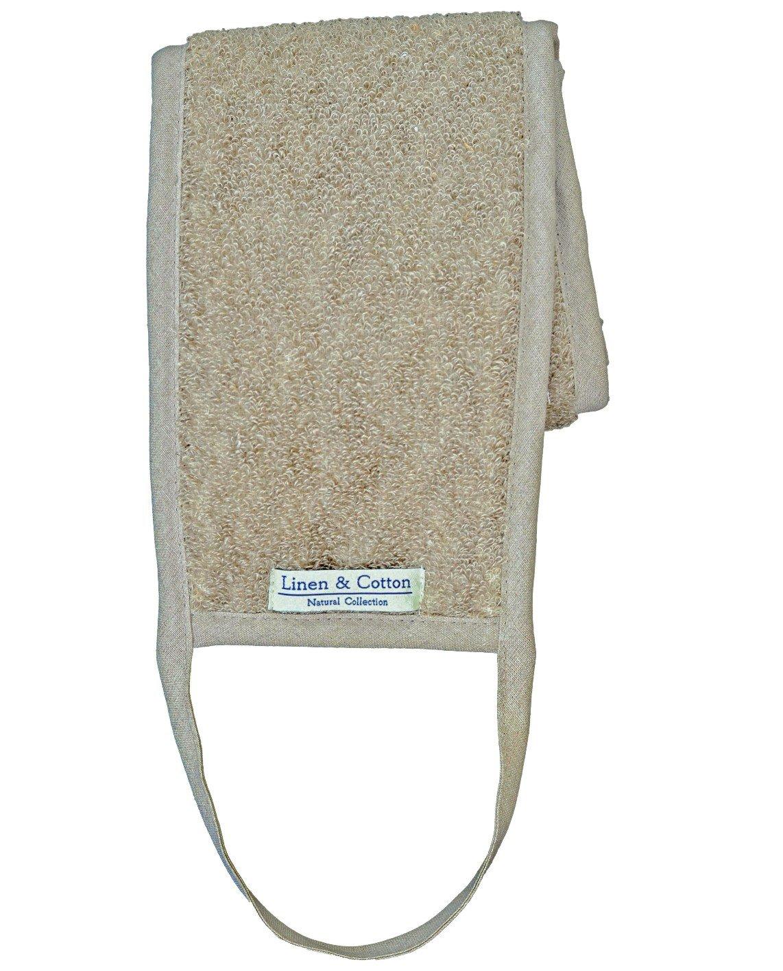 Fascia Esfoliante Per La Schiena in Lino /Cotone Per Il Bagno/ Doccia AIRA - 15 x 70cm ( Naturale) Linen & Cotton LTD
