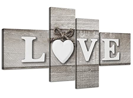Superior Wallfillers Large Shabby Chic Love Quote   Grey Canvas Wall Art Prints    Multi 4 Part