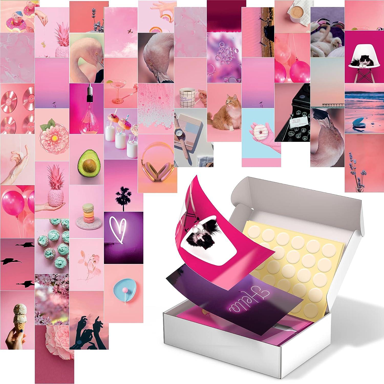 Pink Photo Wall Collage Kit - 50PCS Extra Rigid 4