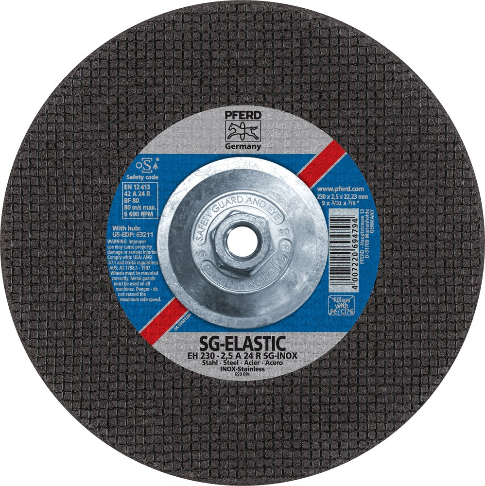 PFERD 63211 Depressed Centre Cut-off Wheel 6600 Max rpm 5//8-11 Thread 9 Diameter x 3//32 Thickness Pack of 10 9 Diameter x 3//32 Thickness PFERD Inc. Type 27 Aluminum Oxide A