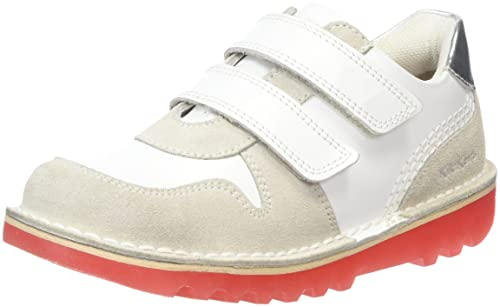 Kickers Kick Glow Vel, Sneaker Bimbo, Bianco (White/Red), 23 EU
