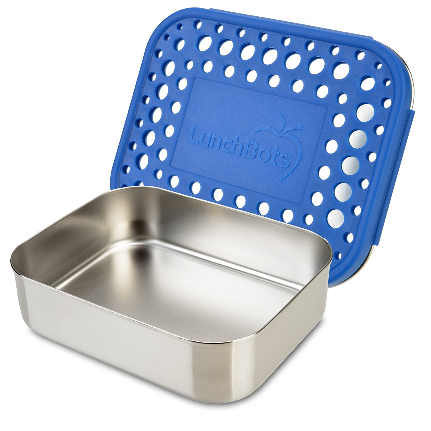 LunchBots Uno Stainless Steel Food Container - Open Design Perfect for Sandwiches, Wraps, Salads or a Small Meal - Eco-Friendly, Dishwasher Safe and BPA-Free - Blue LB-UNO-BLUE-DOTS