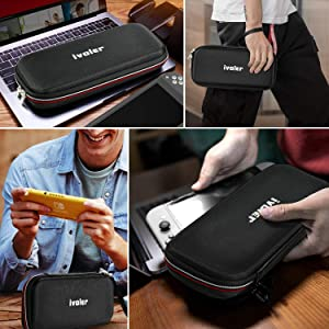 Carrying Case for Nintendo Switch Lite with 2 Pack Screen Protector, iVoler Ultra Slim Portable Hard Shell Pouch Carrying Travel Game Bag for Switch Lite Console Accessories Holds 10 Game Cartridge