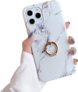 Case for iPhone 12 for iPhone 12 Pro Cases 6.1 Sparkle White Marble Bumper Built-in 360 Degree Rotating Ring Kickstand Soft TPU Rubber Silicone Case Cover for Women Men