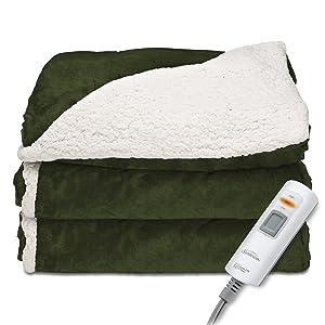 Sunbeam Heated Throw Blanket | Reversible Sherpa/Royal Mink, 3 Heat Settings, Olive
