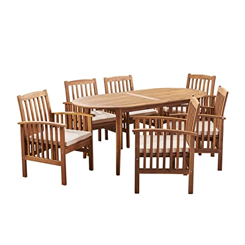 Great Deal Furniture Spring Acacia Patio Dining Set, 6-Seater, 71 Oval Table with Straight Legs, Teak Finish, Cream Outdoor Cushions