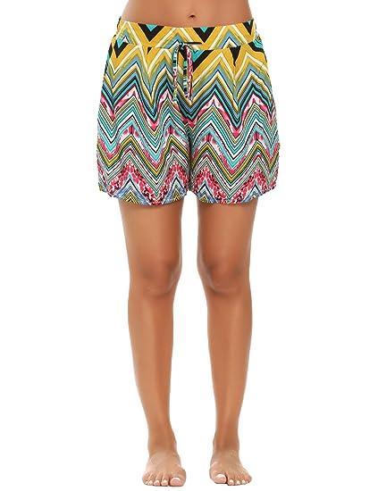 6388d74ca90 Zeagoo Women s Plus Size Drawstring Woven Floral Printed Beach Shorts