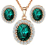 Yoursfs Green Crystal Jewelry Set Middleton Diana Style Halo Pendant Necklace & Stud Earrings Set
