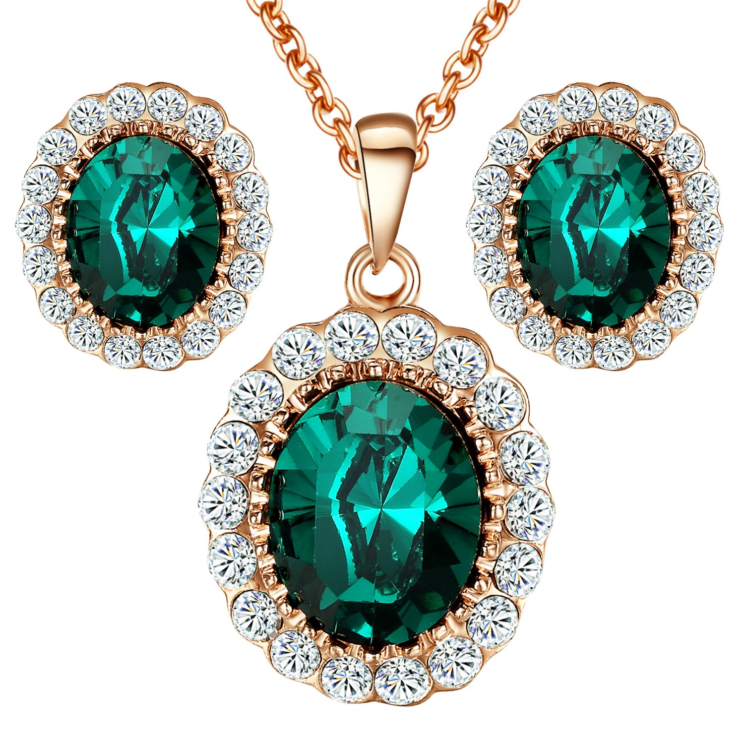 Yoursfs Kate Middleton Style Jewelry Set Green Crystal Cubic Zirconia Halo Necklace and Stud Earrings Set