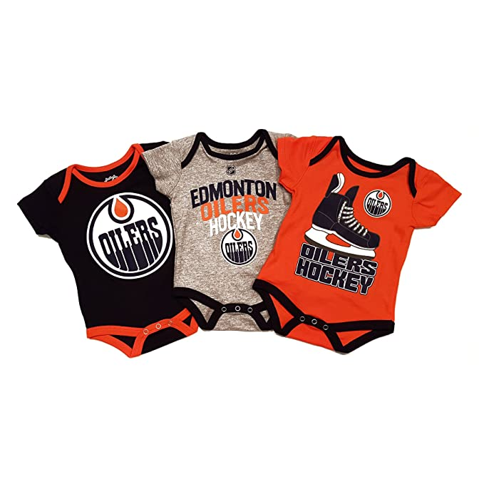 7e2cfcdbb Edmonton Oilers Hat Trick 3-Pack Bodysuit (9 month)  Amazon.ca ...