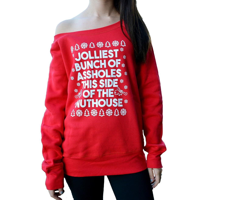 amazoncom jolliest bunch of assholes sweatshirt off shoulder clothing