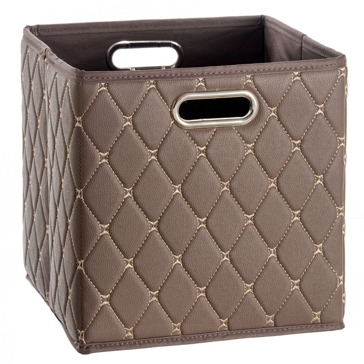Creative Scents Cube Storage Bin Faux Leather - Decorative Basket with Handles for Shelf – Foldable Storage Cube Organizer Bin for Closet Clothes Blanket Magazines Bedroom Nursery Under Bed (Brown)