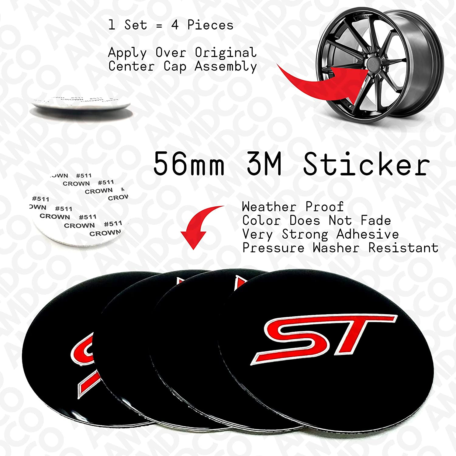 pack of 4 56mm Black Red 56MM BLACK Emblem Badge Stickers Decals with Strong 3M Includes instructions MEASURE Before Purchase Fitment Top Quality fit For ST AMD