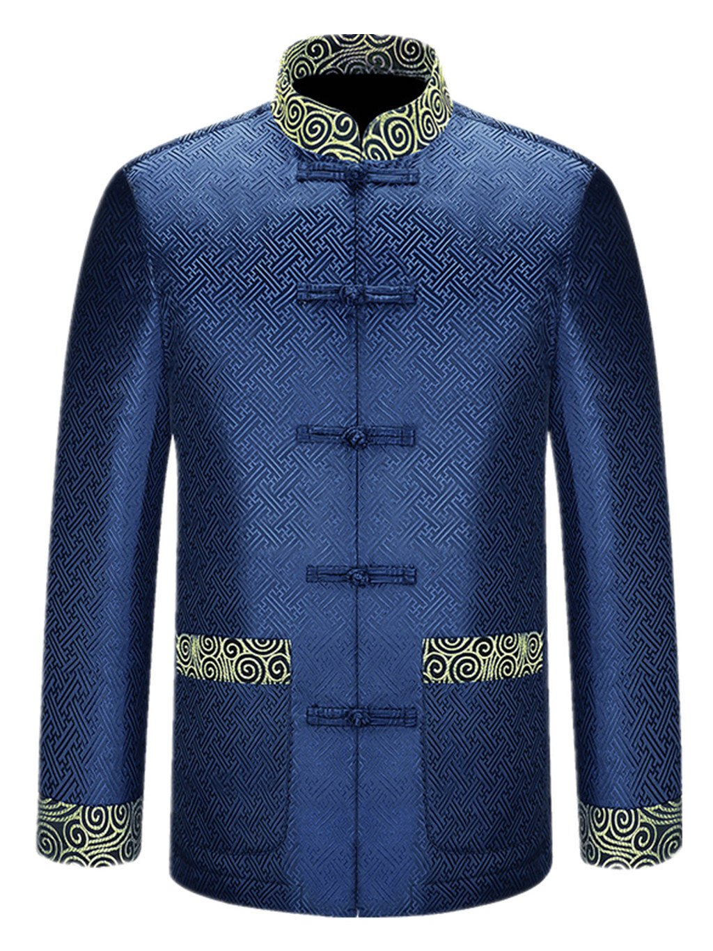 High-end Tang Suit National Costume Individuality Retro Jackets Coats Men's Dress Full Dress (golden)