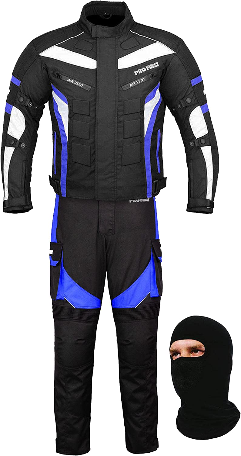 6 Packs Design Most Popular Black /& Blue, Medium Trouser in Cordura Fabric and CE Approved Armour FREE BALACLAVA Waterproof Motorbike Motorcycle 2 Piece Full Suit Jacket