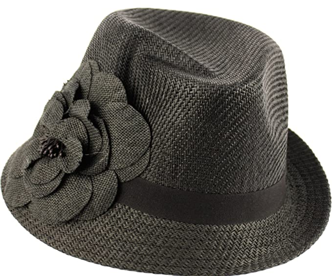 a9193906009 Girl Straw Fedora Hat with Flower (BLACK) at Amazon Women s Clothing ...