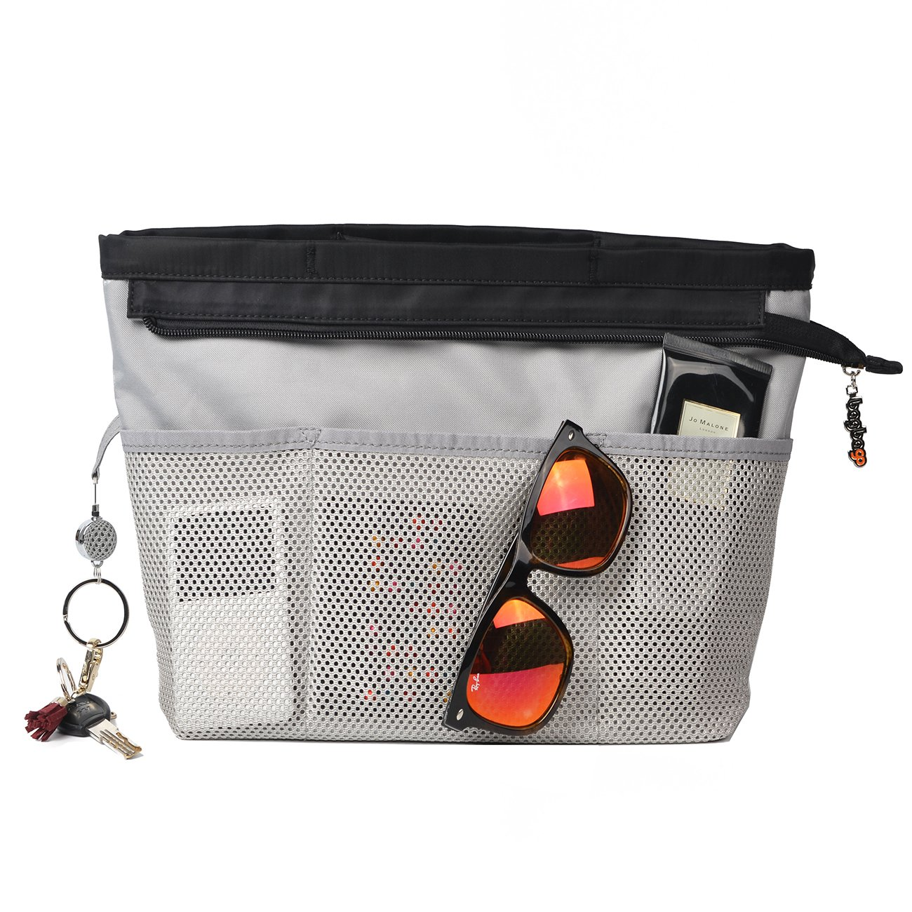 13 Pockets Purse Organizer Tote Insert Liner Bag Anti-Theft Keychain(M,Black) by BES CHAN (Image #6)