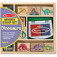 Melissa & Doug Wooden Stamp Set:  Dinosaurs - 8 Stamps, 5 Colored Pencils, 2-Color Stamp Pad