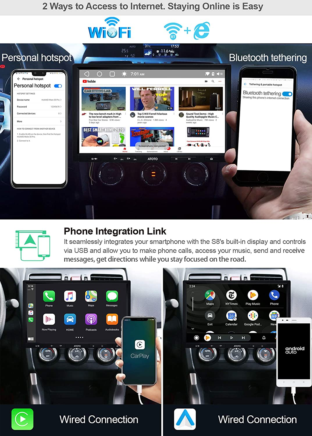 ATOTO S8 Premium S8G2103M in-Dash Navigation//Android Headunit,Octa-Core CPU Dual BT with aptX,Phone Link,QLED Display,VSV Parking,Support 512GB SD and More 10in Floating Display