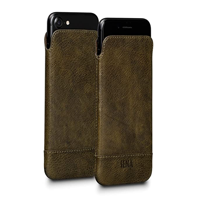 big sale 52175 1224e Sena UltraSlim Classic Leather Sleeve Cell Phone Case for iPhone 6, 7 -  Heritage Sage