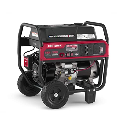 Craftsman 8000 Watt Portable Generator with Push Button Electric Start and CO Detection Technology, 11500 Starting Watts 8000 Running Watts, Powered by Briggs Stratton