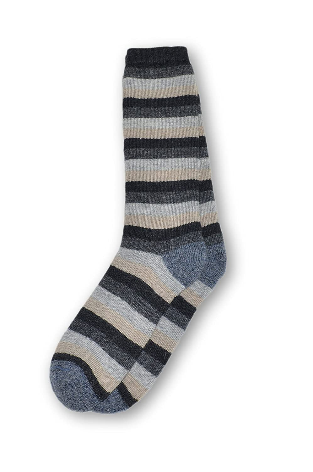 Invisible World Women's Alpaca Boot Socks Warm Thick Cushioned Striped Earth 12150301