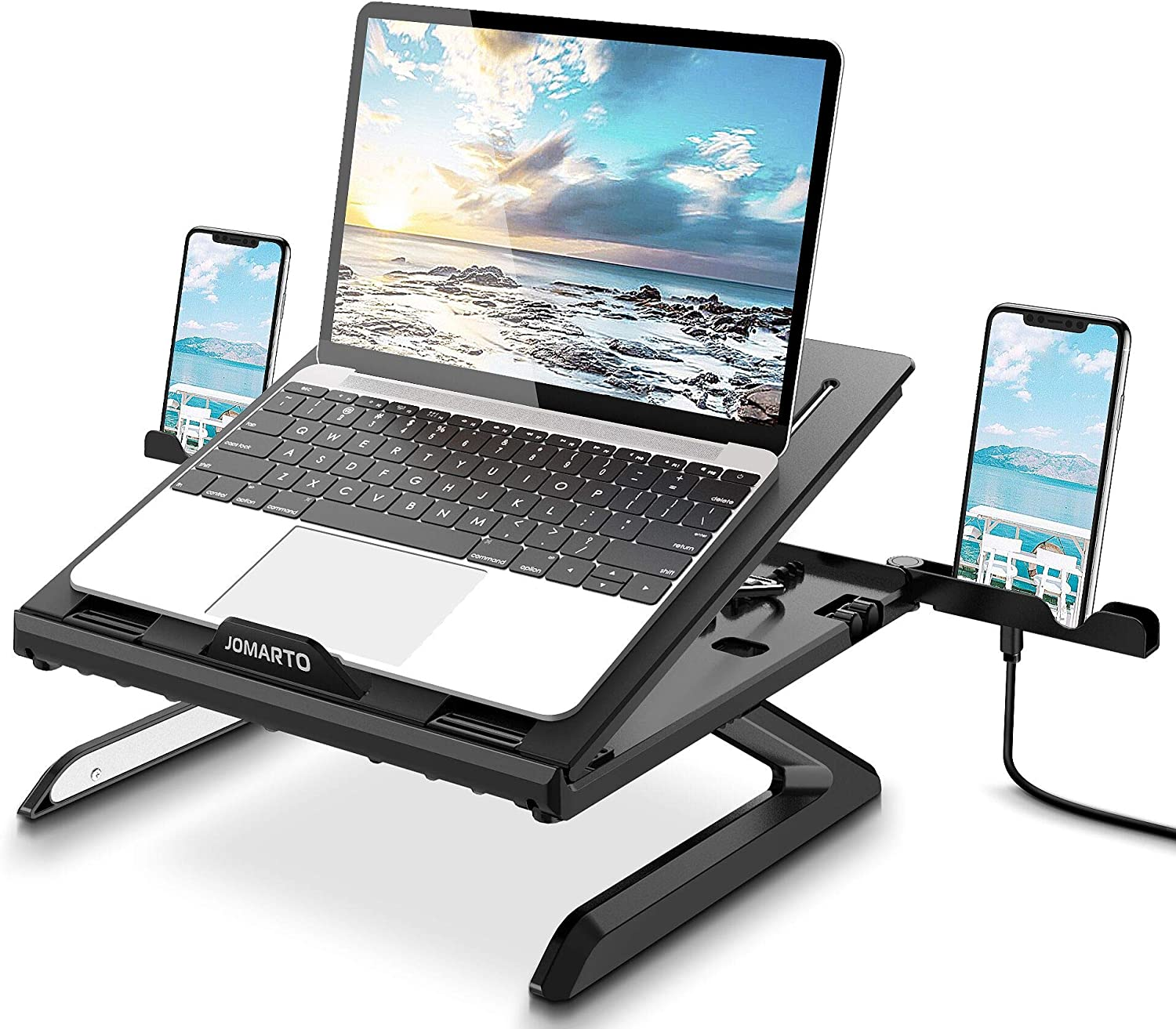 Laptop Stand Ergonomic Keyboard Tray Computer Holder with Heat-Vent to Elevate and Adjustable Laptop.JOMARTO Computer Holder Compatible with Mac-Book Computer,Tablet(Black)