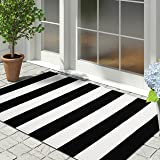 iOhouze Cotton Black and White Striped Rug Outdoor Doormat 27.5 x 43 Inches Washable Woven Front Porch Decor Outdoor Indoor W