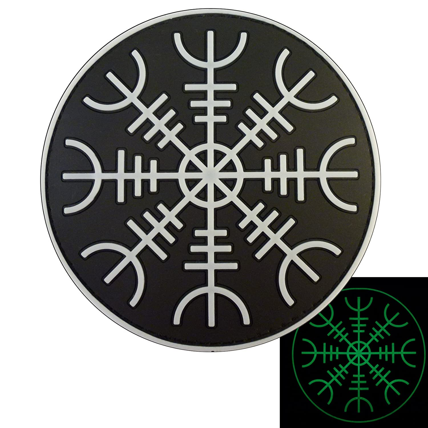 Glow Dark Aegishjalmr Viking Helm of Awe Terror Protection Morale PVC Rubber Touch Fastener Patch 2AFTER1 P.1780.1.V