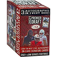 $34 » 2021 SAGE Hit Premier Draft Low Series Football BLASTER box (63 cards/bx incl. THREE Autograph cards)