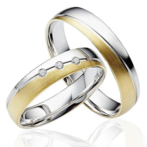 2 x 585 oro Alianzas Partner alianzas de anillos anillos de compromiso en oro amarillo y