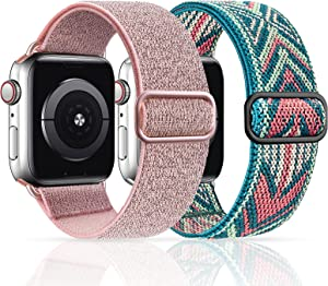 MEULOT Stretchy Nylon Solo Loop Band Compatible with Apple Watch Band 38mm 40mm 2-Pack Adjustable Braided Sport Women Men iWatch Series 6/5/4/3/2/1 SE 38/40 Pink/Green Arrow