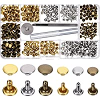 Yeefant Gadgets - Rivets Replacement Leather Craft Tools Set, 180 Set 2 Sizes Leather Rivets Double Cap Rivet Tubular Metal Studs with 3 Pieces Fixing Tool for DIY Leather Art, 3 Colors (Gold, Silver and Bronze)