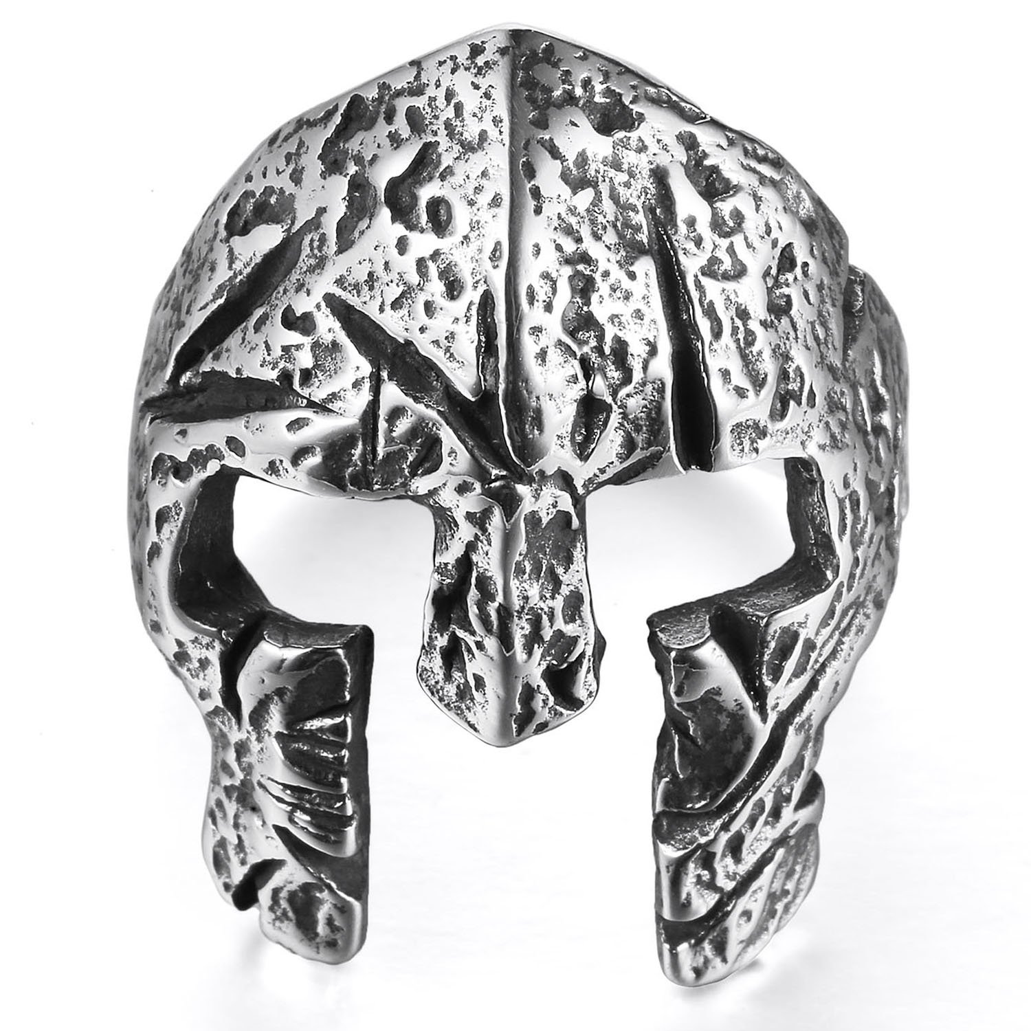MENDINO Mens Stainless Steel Ring Greek Spartan Warriors Viking Knight Band Punk Silver Tone with a Velvet Bag