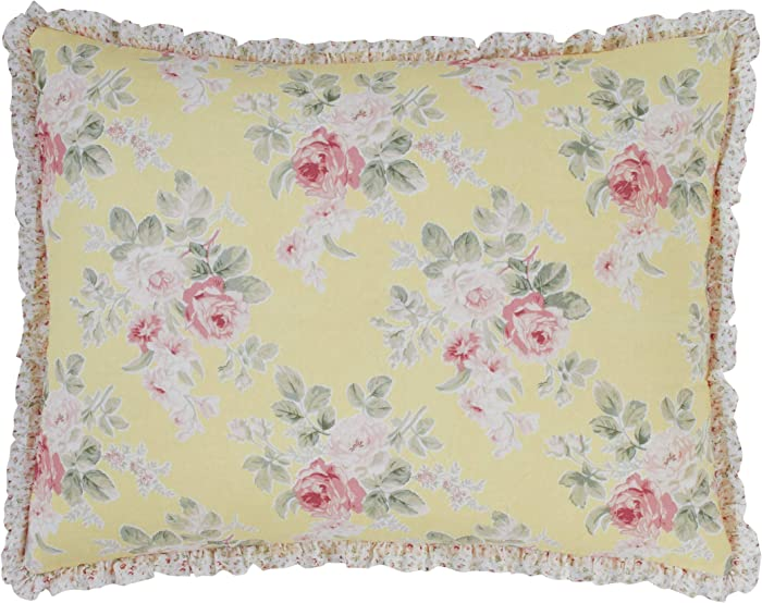 Laura Ashley Home | Melany Collection | Premium Quality Pillow Sham, Decorative Pillow Case for Bedroom Living Room and Home Décor, Standard, Yellow