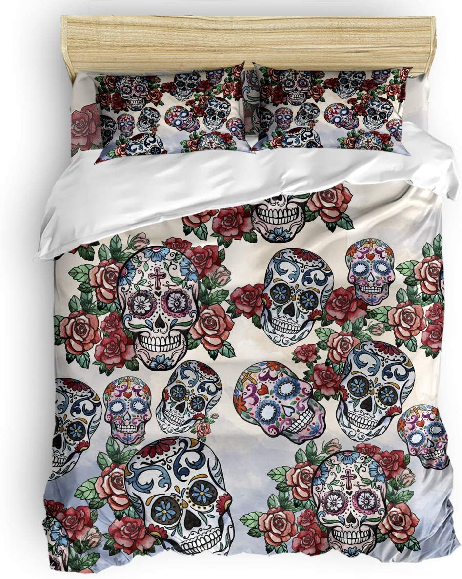 Microfiber 4pcs Bedding Duvet Cover Set Queen,Tattoos and Skeletons in Roses Soft and Breathable with Zipper Closure & Corner Ties