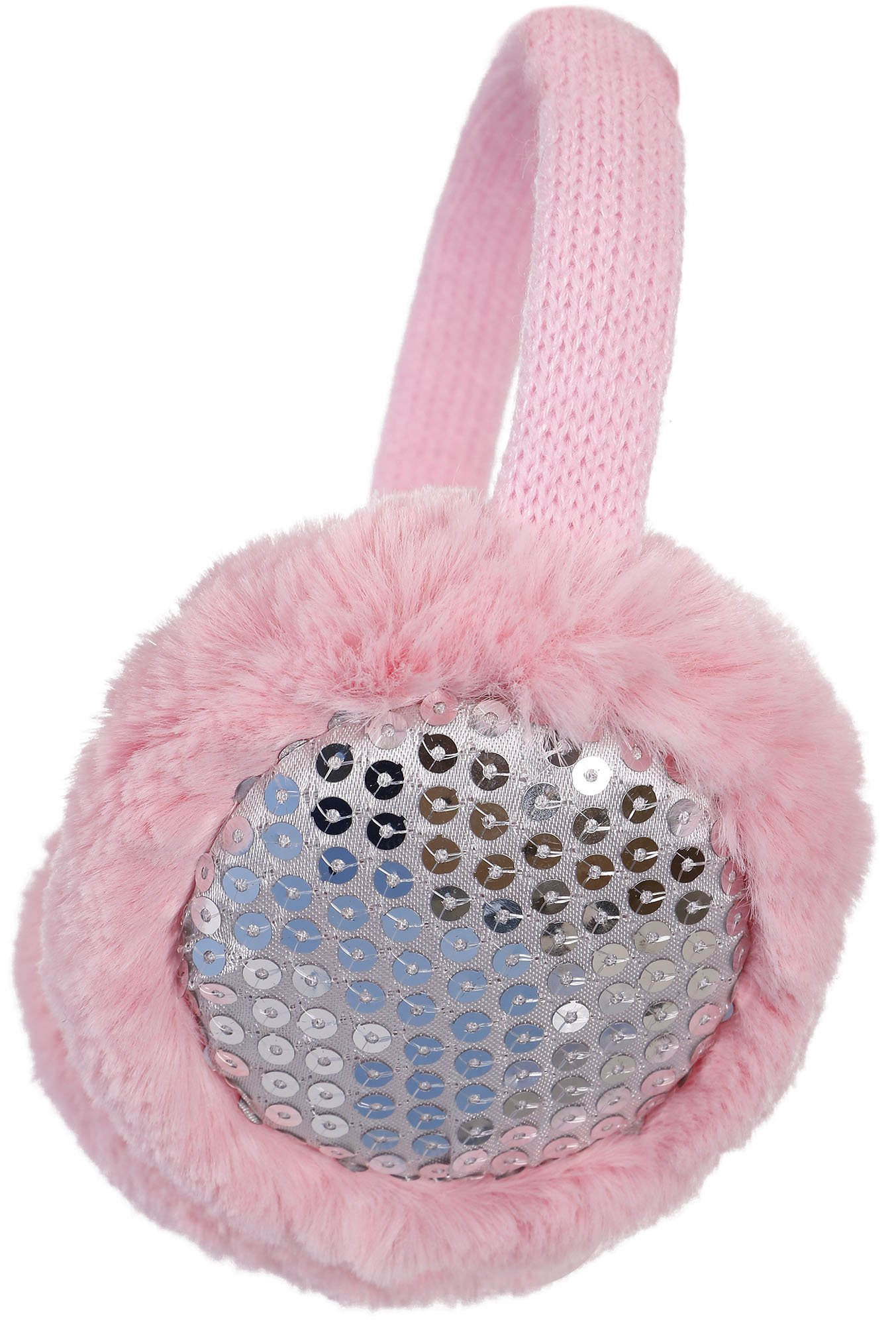 Simplicity Faux Fur Fluffy Knit Patterned / Sequin Winter Earmuffs, Pink