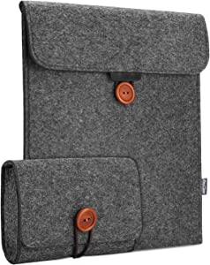 "ProCase Sleeve Bag for iPad Pro 12.9"" 2020 4th Gen / 2018 3rd Gen, Felt Sleeve Case Cover with an Extra Accessory Organizer, Also Compatible with Surface Pro 7/Pro 6/ Pro 5/ Pro 4/ Pro 3 -Black"