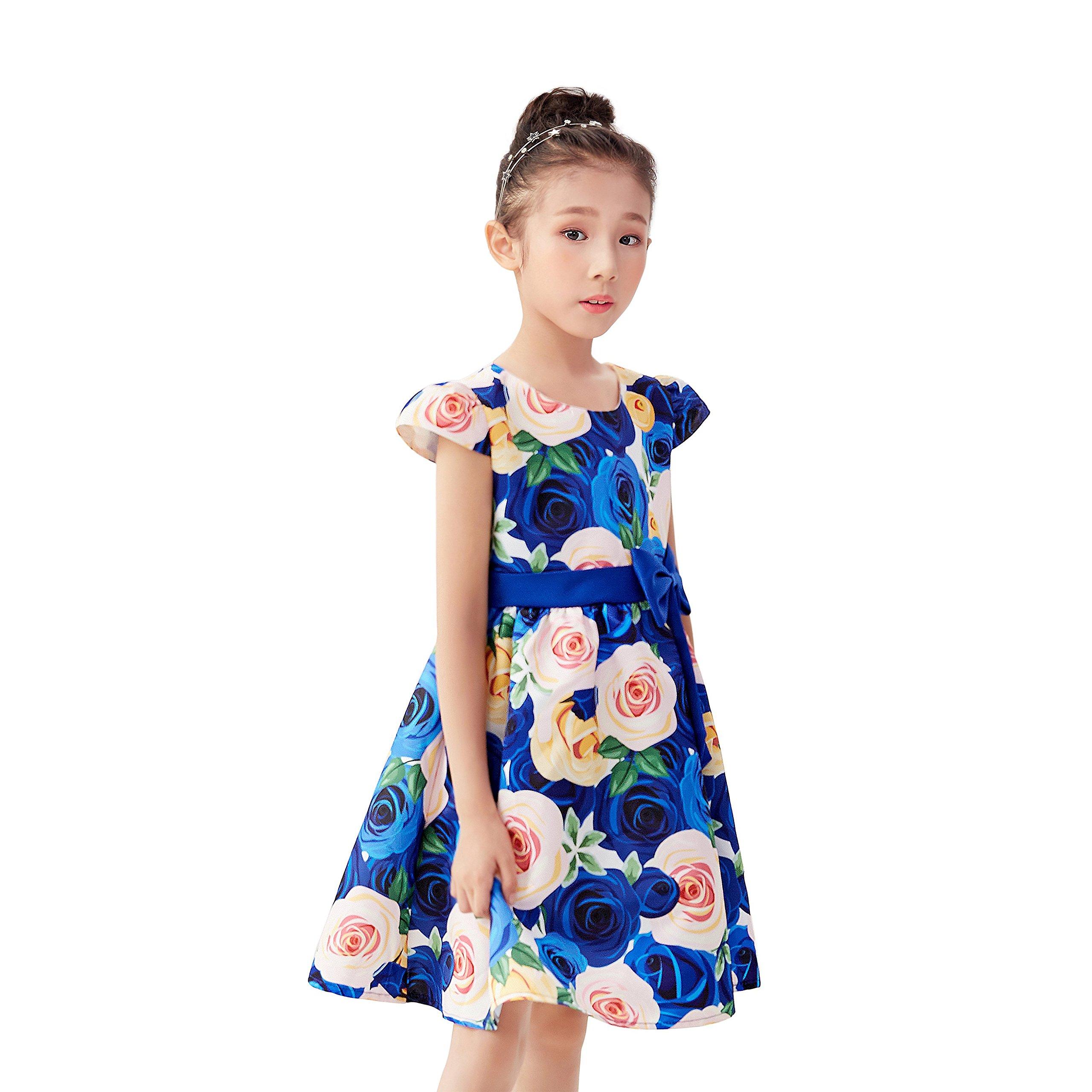 Kids Dresses 7-8 Dresses for Kids 7T Flower Girl Dress Girls Summer Clothes Girls Gifts Special Occasion Dresses for Girls Size 7 (Blue Rose, 7)