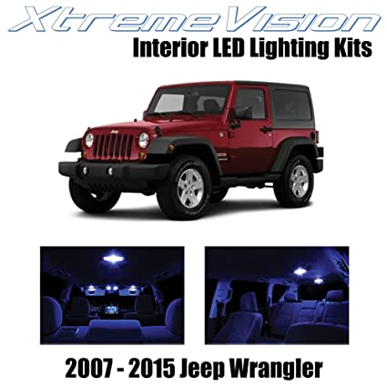 Xtremevision Led For Jeep Wrangler Jk 2007 2015 5 Pieces Blue Premium Interior Led Kit Package Installation Tool
