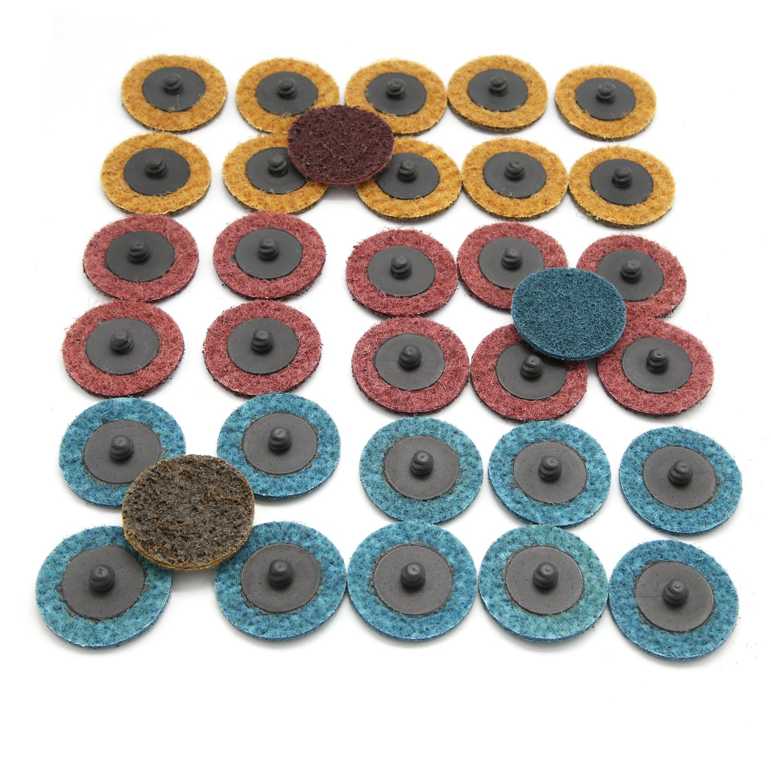 Tougs 33 PCS 2 Inch Quick Change Discs Surface Conditioning Discs, Mix Roll Lock Sanding, Resin Fibre Disc R-Type, Fine Medium Coarse Pads - Max Speed 20,000Rpm