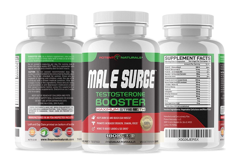Potent Naturals Male Surge Prime Testosterone Booster 180 V-Caps | 2100mg  D-AA-CC, D3, K2,