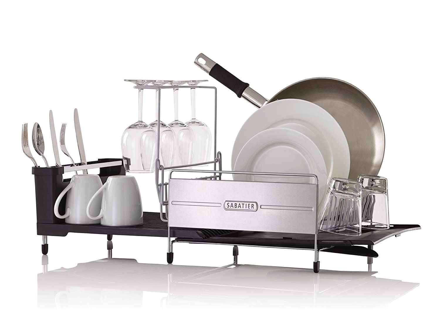 Silver//Gray Sabatier 5199813 Expandable Stainless Steel Dish Rack with Rust-Resistant Soft Coated Wires and Bi-Directional Spout