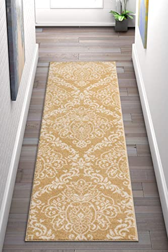 Delicate Damask Gold Oriental Geometric Modern Casual Lattice 2×7 2 3 x 7 3 Runner Easy Clean Stain Fade Resistant No Shed Contemporary Traditional Moroccan Trellis Floral Living Dining Room