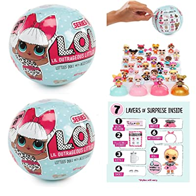 Set of 2: L.O.L Little Outrageous Littles Surprise! Dolls - You Get Seven Layers of Fun with Every L.O.L. Surprise Doll!: Toys & Games