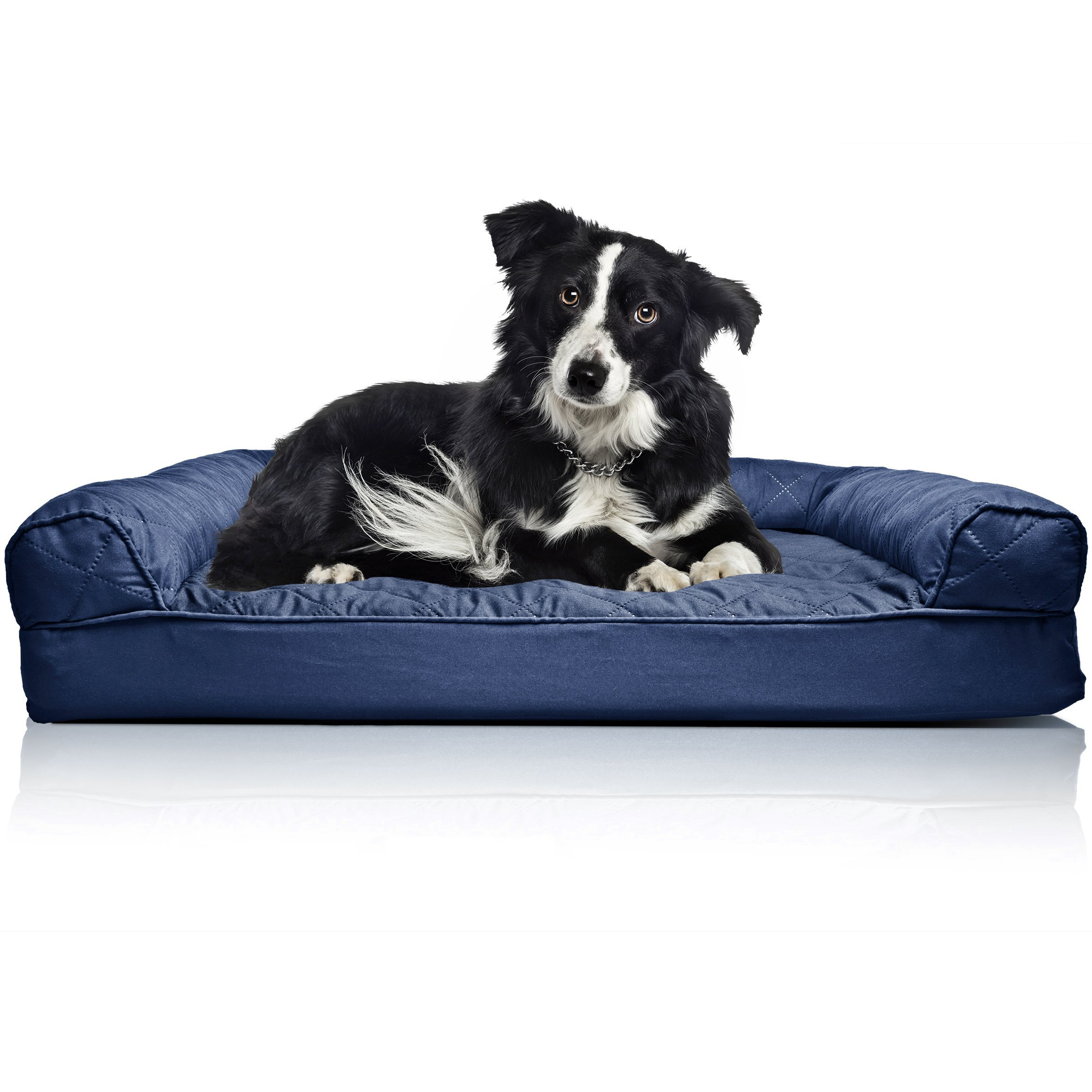 FurHaven Pet Dog Bed | Orthopedic Quilted Sofa-Style Couch Pet Bed for Dogs & Cats, Navy, Large